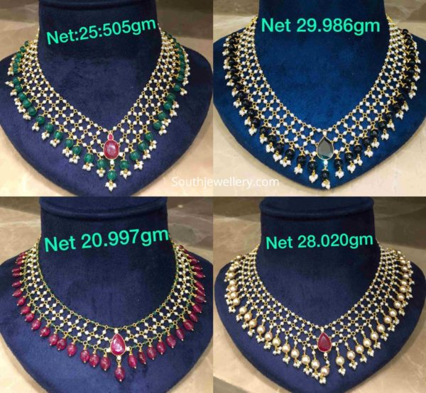 light weight pearl and beads necklace designs