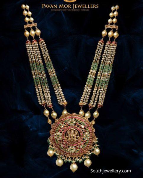 multi strand beads haram with lakshmi kundan pendant