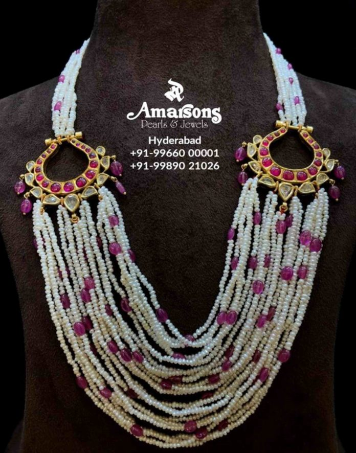 multiple string pearl necklace