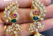 peacock diamond jhumkis