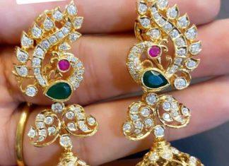 peacock diamond jhumkis