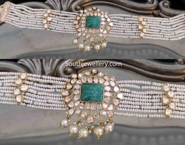 pearl choker with polki pendant (2)