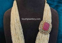 pearl mala with polki ruby side pendant