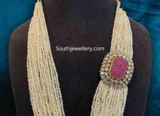pearl mala with polki ruby side pendant
