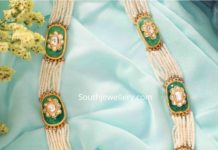 pearl necklace with emerald motifs