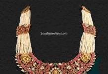 pearl necklace with kundan lakshmi pendant