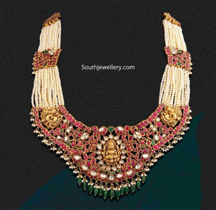 pearl necklace with kundan lakshmi pendant
