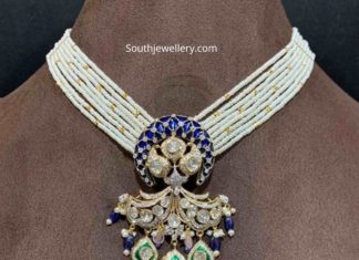 pearl necklace with polki pendant