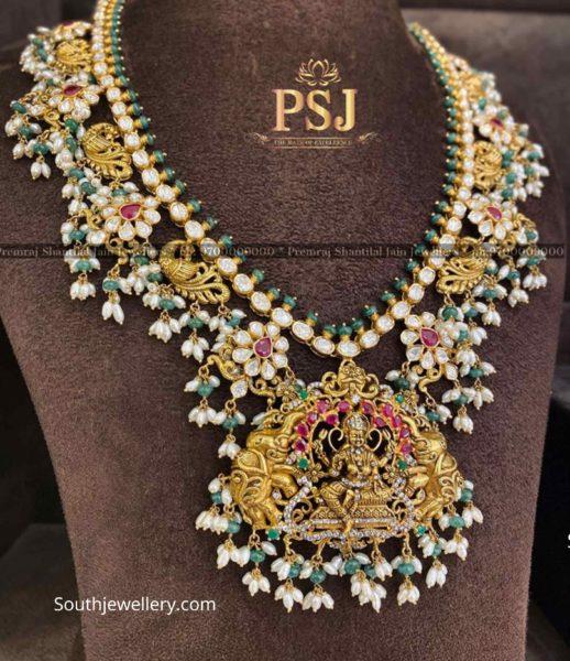 uncut diamond lakshmi peacock guttapusalu necklace