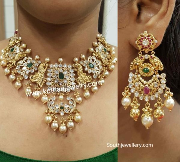 uncut diamond pachi choker and chandbalis