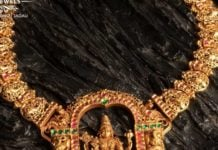 antique gold necklace with venkateswara pendant