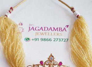 beads choker with lakshmi pendant