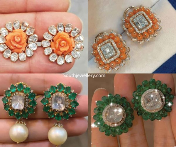 coral and emerald beads studs designs