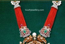 coral beads necklace with temple pendant