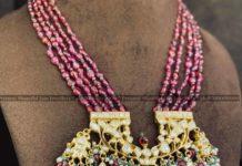 ruby beads mala with polki pendant