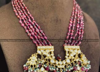 ruby beads mala with polki pendant