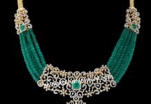 emerald beads necklace with diamond pendant (2)