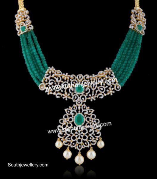 emerald beads necklace with diamond pendant (2)
