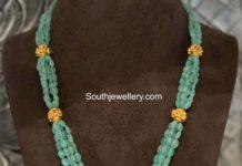 emerald beads necklace with nakshi pendant