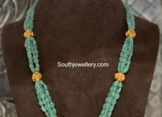 emerald beads necklace with nakshi pendant