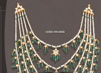 five layered pearl satlada necklace