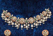 floral uncut diamond choker set