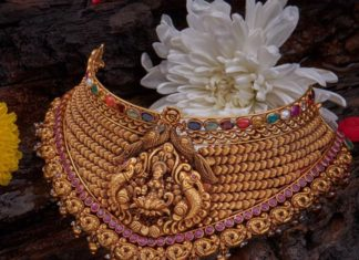 gold choker with navrathan gemstones