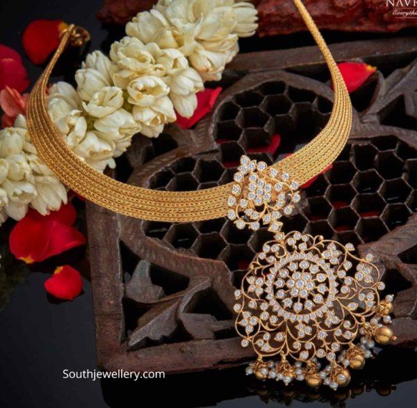 gold mesh choker with diamond pendant