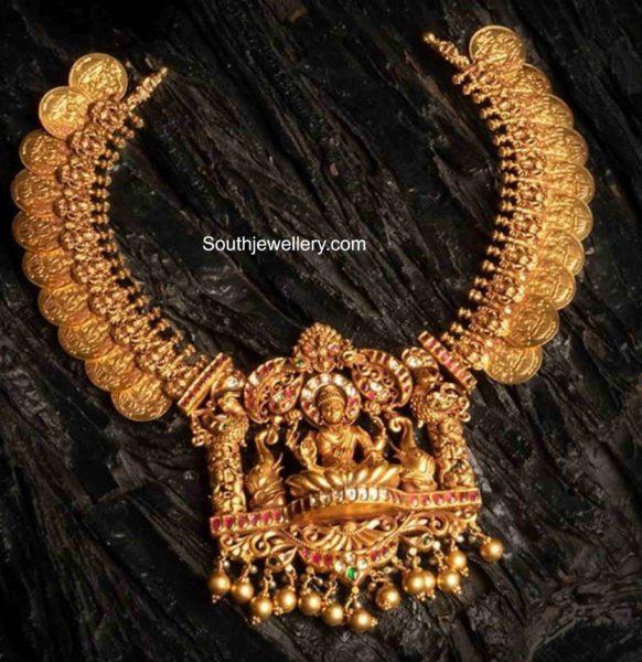 kasu necklace with lakshmi pendant