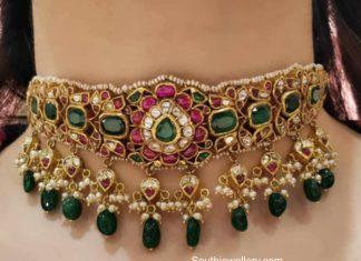 kundan choker aqua diamond and jewels