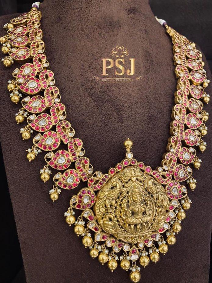 kundan haram lakshmi pendant