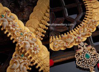 lakshmi kasu haram with diamond pendant (1)