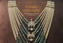 layered pearl and emerald beads satlada necklace