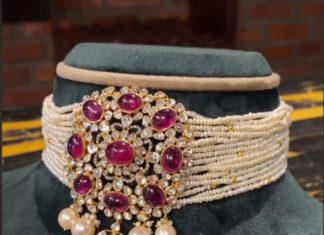 multi strand pearl choker with polki pendant