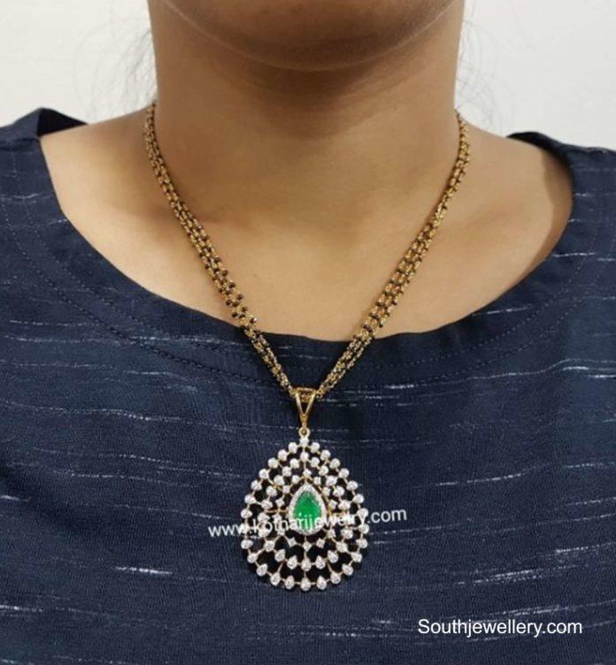 nallapusalu necklace with diamond pendant