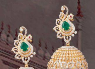 peacock diamond jhumkas mangatrai