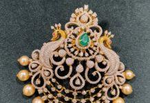 peacock diamond pendant