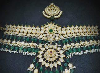 polki emerald choker vajra jewelry