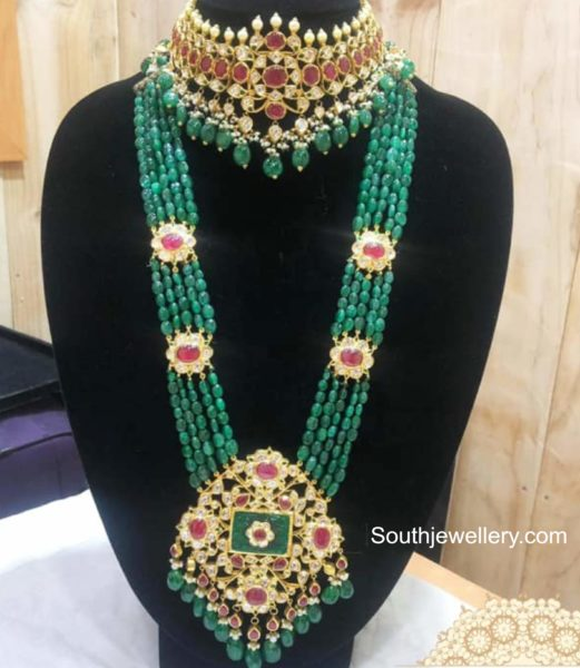 ruby polki choker and emerald beads haram