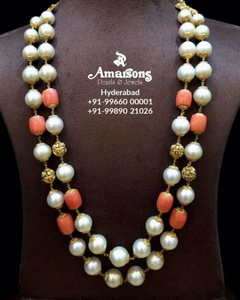 south sea pearl and nakshi balls necklace