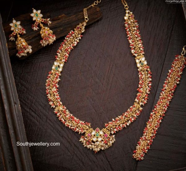antique gold gajjalu necklace set