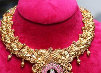 antique gold peacock nakshi necklace (2)