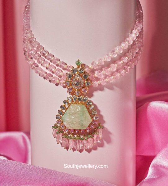 beads necklace with polki pendant