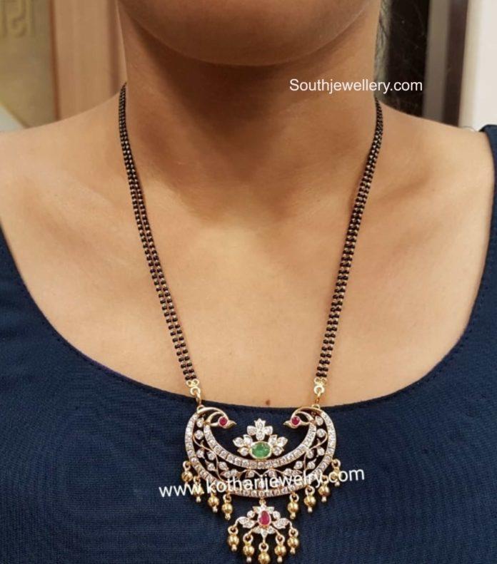 black beads necklace with diamond pendant