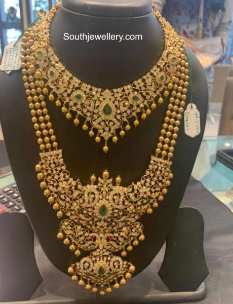 closed setting diamond necklace and haram