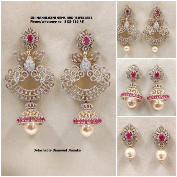 convertible diamond jhumkis
