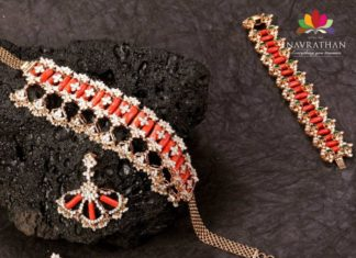 coral beads and diamond choker and bracelet