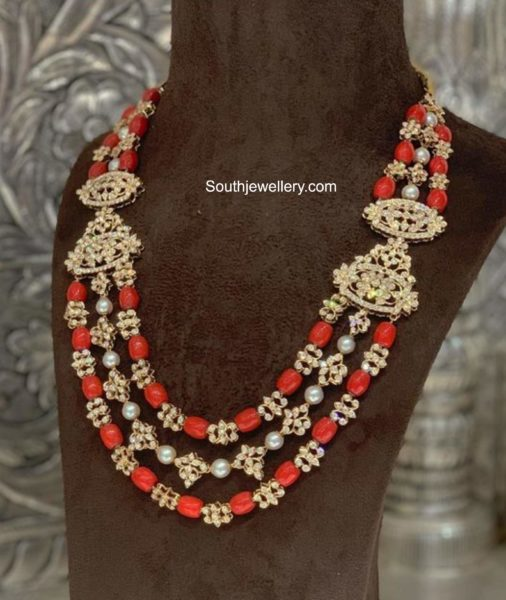 coral beads and diamond necklace