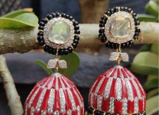 diamond coral and black beads buttalu