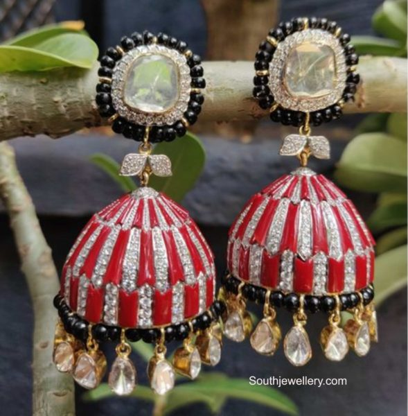 diamond coral and black beads buttalu